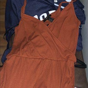 rusty orange pantsuit